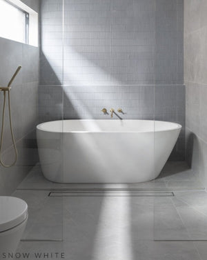 Concrete Freestanding Bath - Concrete Nation Oasis Bathtub Snow White in bathroom