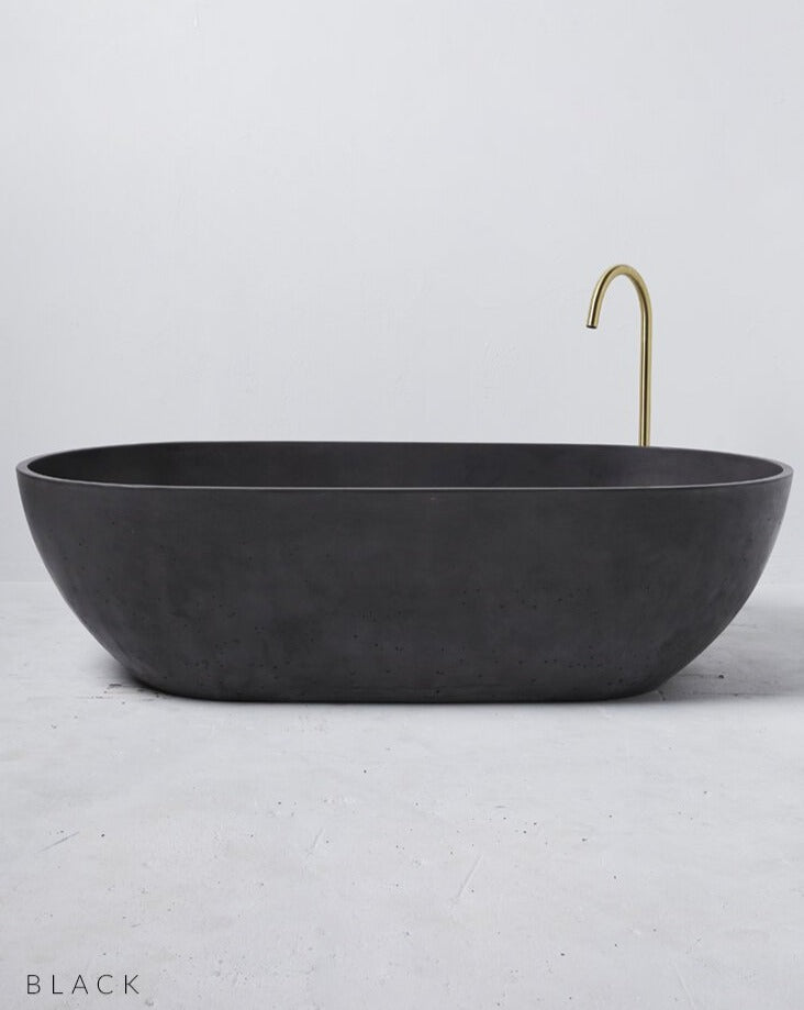 Concrete Freestanding Bath - Concrete Nation Valencia Bathtub in Black