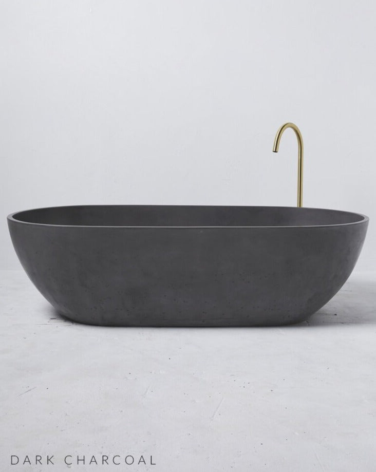 Concrete Freestanding Bath - Concrete Nation Valencia Bathtub in Dark Charcoal