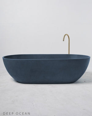 Concrete Freestanding Bath - Concrete Nation Valencia Bathtub in Deep Ocean