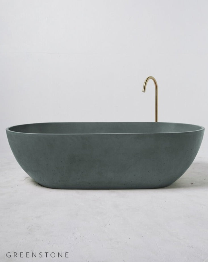 Concrete Freestanding Bath - Concrete Nation Valencia Bathtub in Greenstone