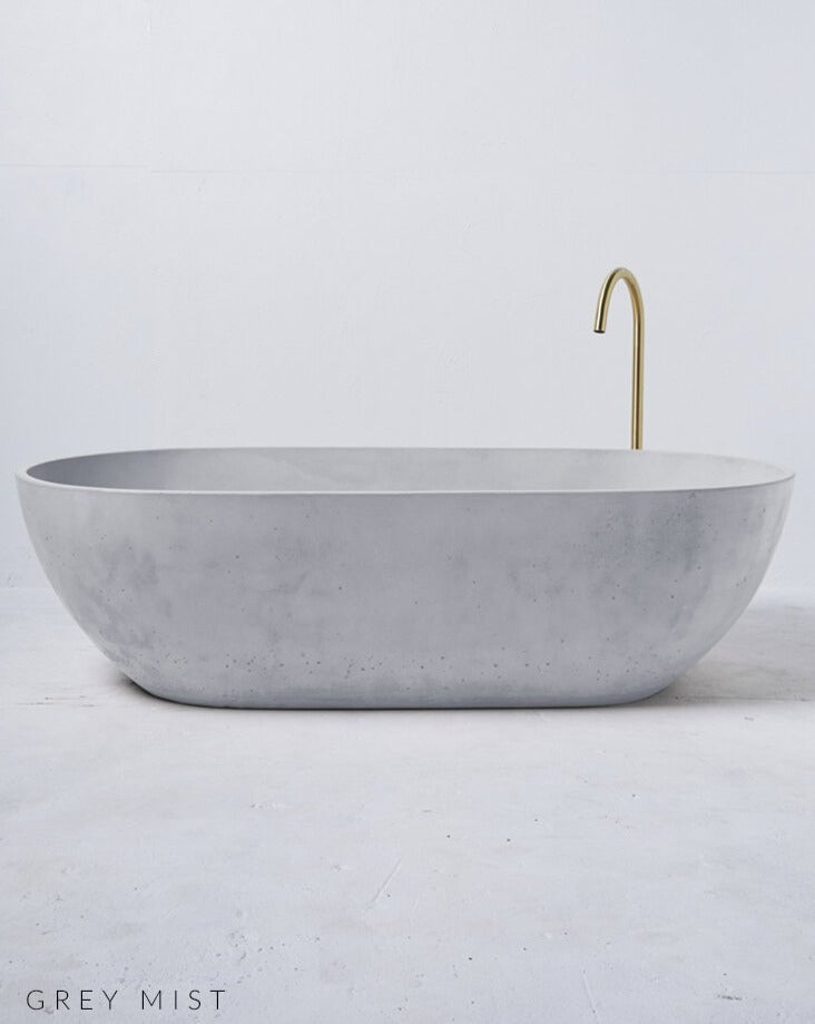 Load image into Gallery viewer, Concrete Freestanding Bath - Concrete Nation Valencia Bathtub in Grey Mist