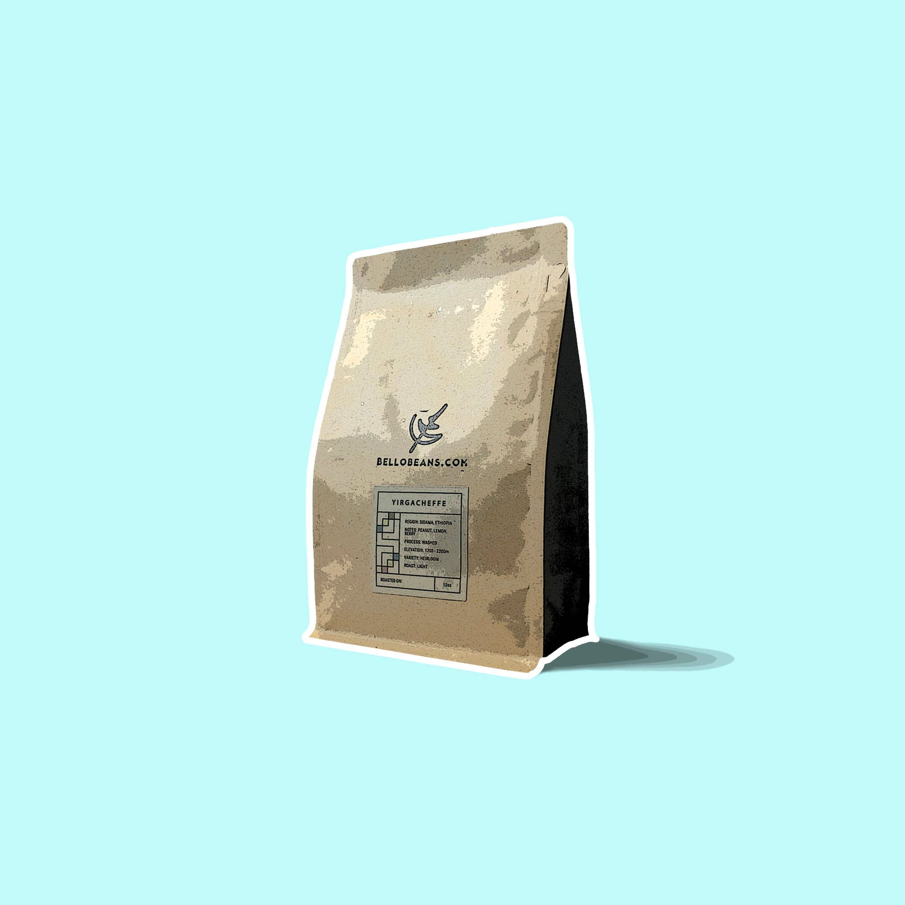 Yirgacheffe ethiopia coffee bean bag