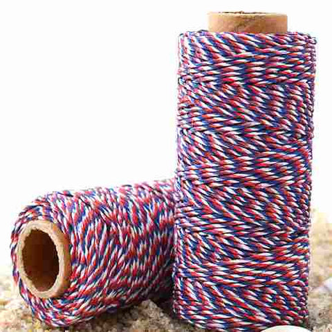 Candy Stripes Bakers Twine 4-Ply 1 Spool/100 Yards Airmail Red/Blue/White