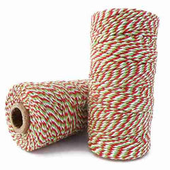 Candy Stripes Bakers Twine 4-Ply 1 Spool/100 Yards Christmas Red/Green/White