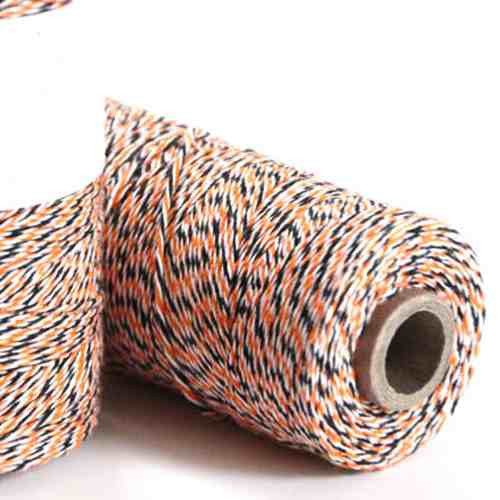 Candy Stripes Bakers Twine 4-Ply 1 Spool/100 Yards Halloween Orange/Black/White