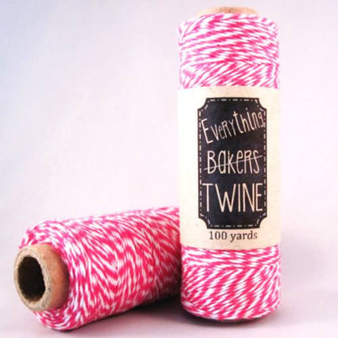 Candy Stripes Bakers Twine 4-Ply 1 Spool/100 Yards Hot Pink/White