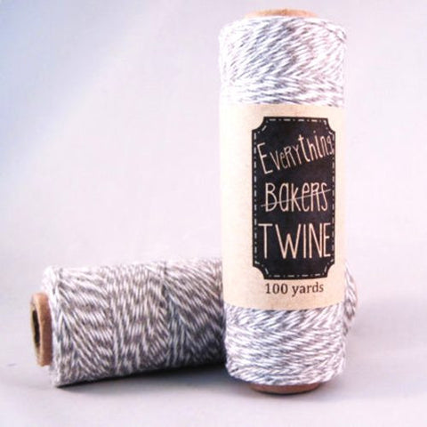 Candy Stripes Bakers Twine 4-Ply 1 Spool/100 Yards Light Grey/White