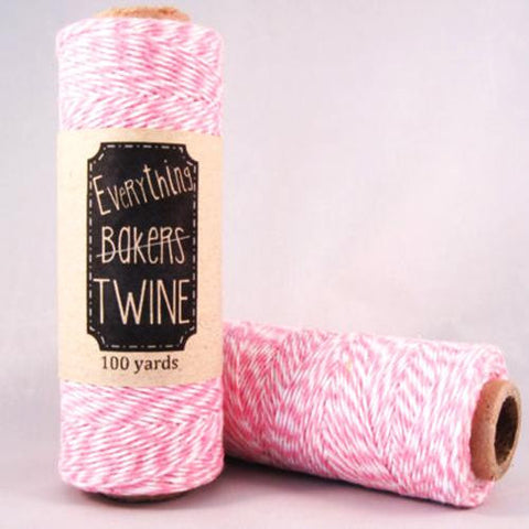 Candy Stripes 4-Ply Bakers Twine 1 Spool/100 Yards Light Pink/White
