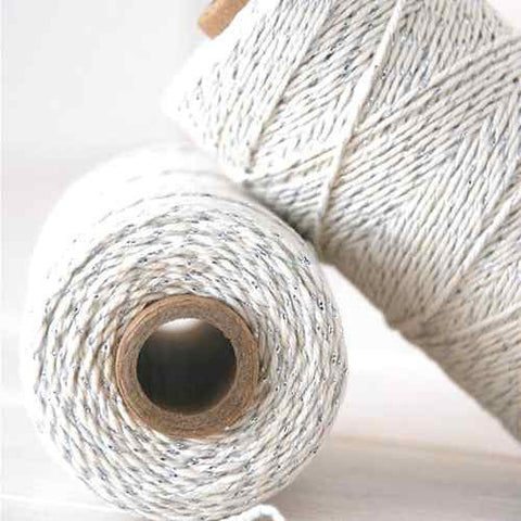 Candy Stripes Bakers Twine 4-Ply 1 Spool/100 Yards Silver Grey Glitter