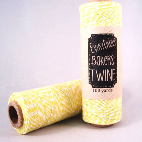 Candy Stripes Bakers Twine 4-Ply 1 Spool/100 Yards Yellow/White