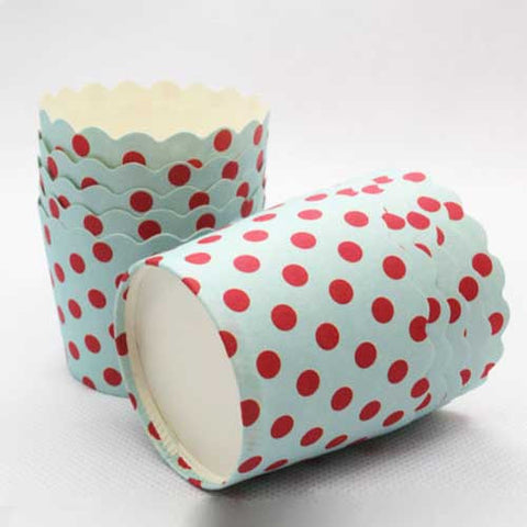Pack of 20 Blue/Red Polka Dots Baking Candy Cups with Scallop Edge