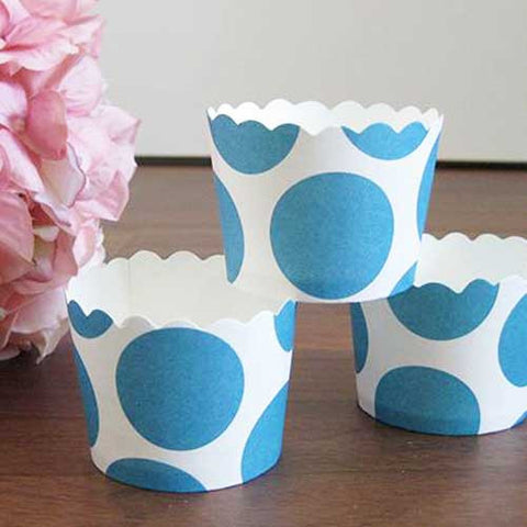 Pack of 20 Big Polka Dots Aqua/White Baking Candy Cups with Scallop Edge