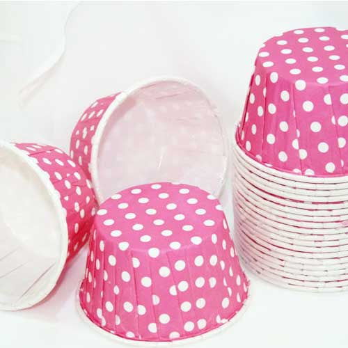 Pack of 20 Polka Dots Bubblegum Pink/White Baking Candy Cups
