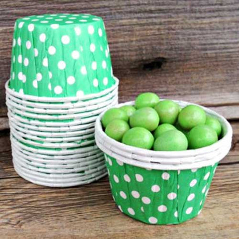 Pack of 20 Polka Dots Foam Green/White Baking Candy Cups