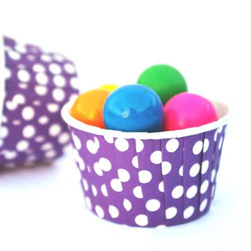 Pack of 20 Polka Dots Royal Purple/White Baking Candy Cups