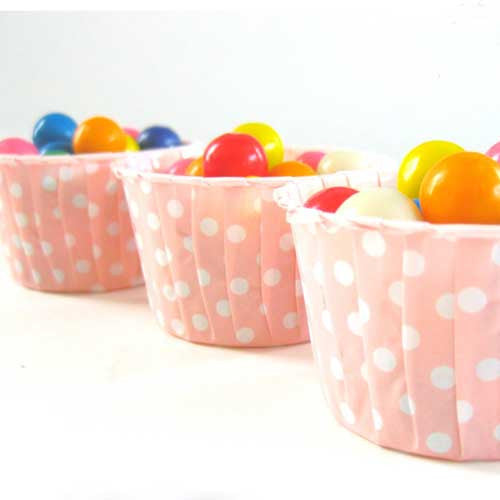 Pack of 20 Polka Dots Salmon Pink/White Baking Candy Cups