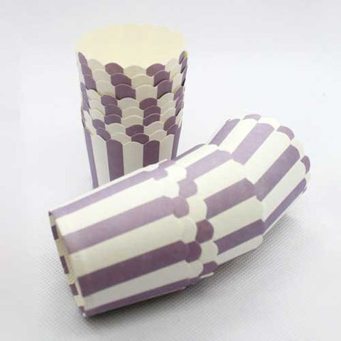 Pack of 20 Candy Stripes Lavender Purple/White Baking Candy Cups with Scallop Edge