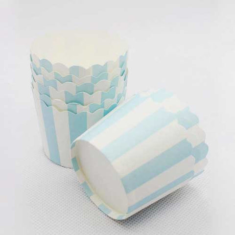 Pack of 20 Candy Stripes Light Blue/White Baking Candy Cups with Scallop Edge