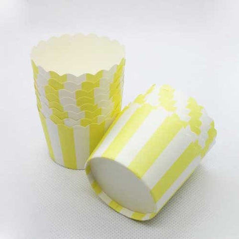 Pack of 20 Candy Stripes Yellow/White Baking Candy Cups with Scallop Edge