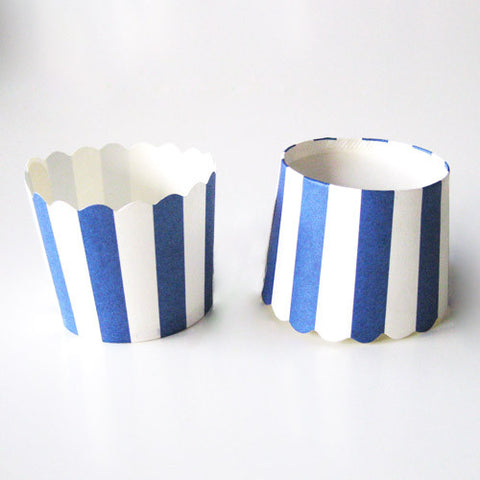 Pack of 20 Candy Stripes Navy Blue/White Baking Candy Cups with Scallop Edge