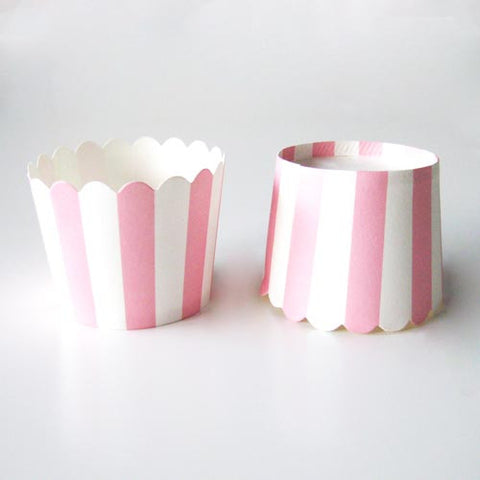 Pack of 20 Candy Stripes Rose Pink/White Baking Candy Cups with Scallop Edge