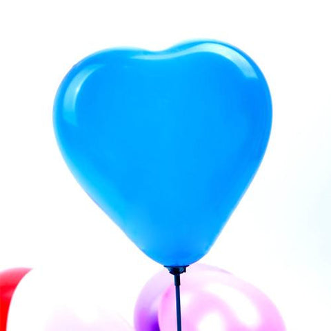 Pack of 25 Heart-shaped Light Blue Pearl Metallic Latex Balloons