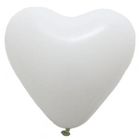Pack of 25 Heart-shaped White Pearl Metallic Latex Balloons