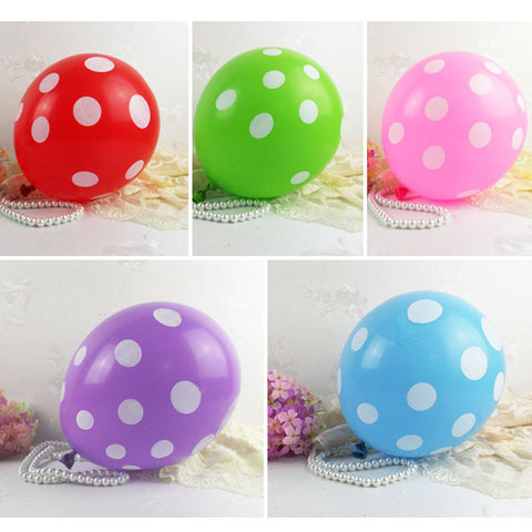 "Pack of 10 Sweet Polka Dots 12"" Latex Balloons (Pick your color; 5 choices)"