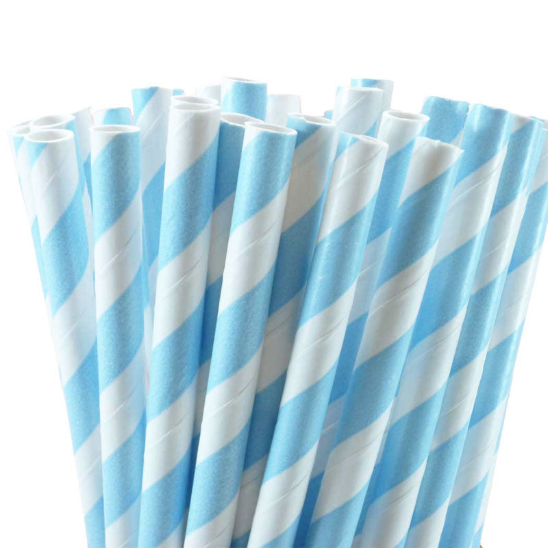 Pack of 25 Candy Stripes Light Blue/White Party Straws