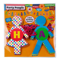 Birthday Bash Fun Party People-shaped Bunting Banner