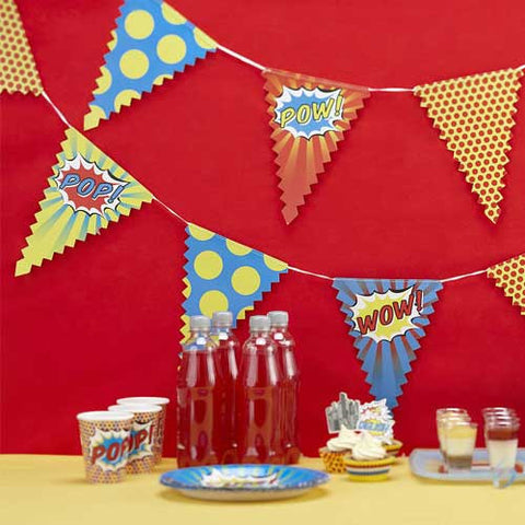 Superhero Pop Art Bunting Banner with Triangle Pennants