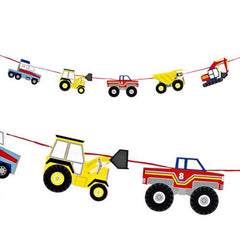 Big Rig Construction Bunting Banner with Machines-shaped Pennants