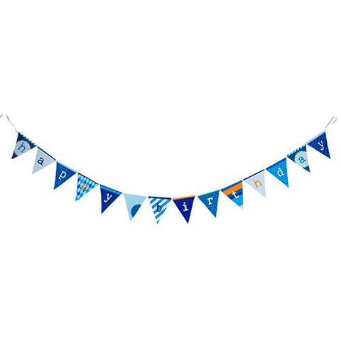 Cool Blue Bunting Banner with Triangle Pennants