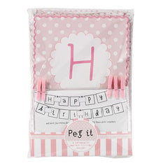 Pink n Mix Customizable Bunting Banner with Square Pennants, Photo Wallets & Pegs