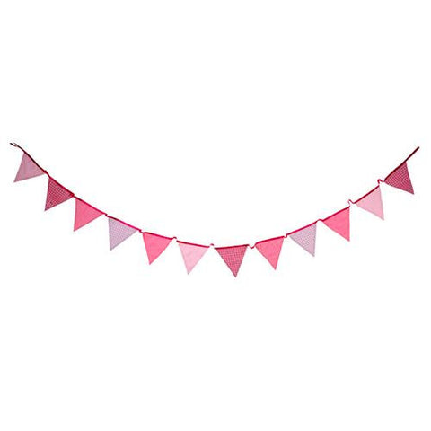 Pink n Mix Fabric Bunting Banner with Triangle Pennants