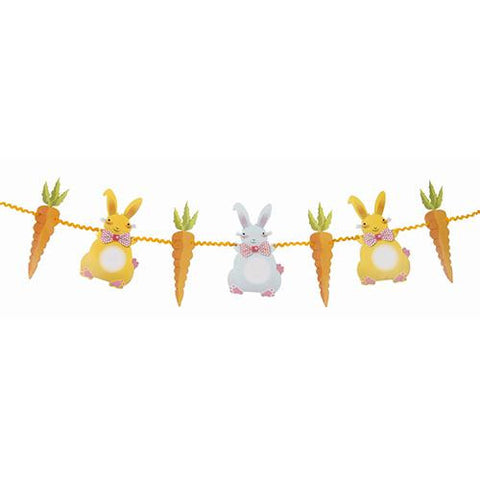 Springtime Bunny Bunting Banner with Bunnies & Carrots-shaped Pennants