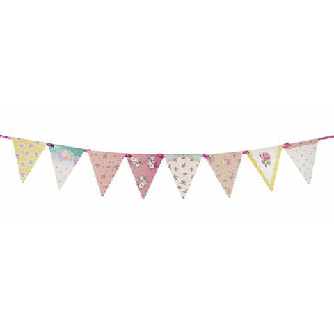 Truly Scrumptious Vintage Floral Bunting Banner with Triangle Pennants