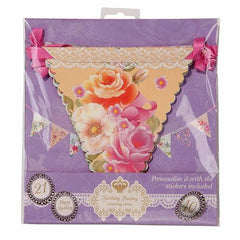 Truly Scrumptious Vintage Floral Bunting Banner with Triangle Pennants & Happy Birthday Stickers