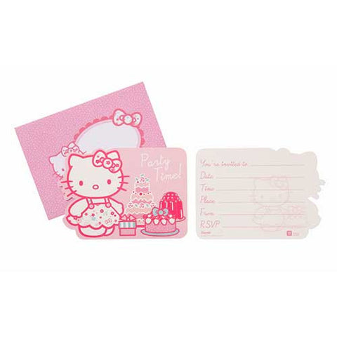 Hello Kitty Pack of 10 Party Invitation Cards & Envelopes