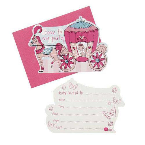 Princess & Kitty Pack of 10 Party Invitation Cards & Envelopes