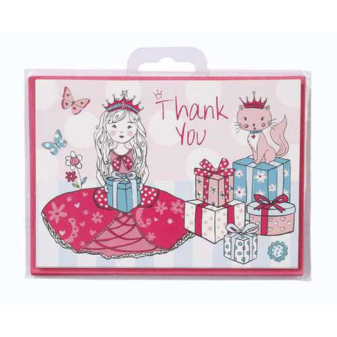Princess & Kitty Pack of 10 Thank You Cards & Envelopes