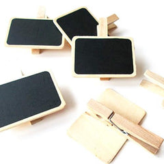 Pack of 5 Mini Chalkboard Wooden Party Label Clips