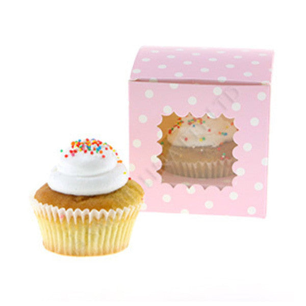 Pack of 6 Sweet Pink Polka Dots Single Cupcake Box
