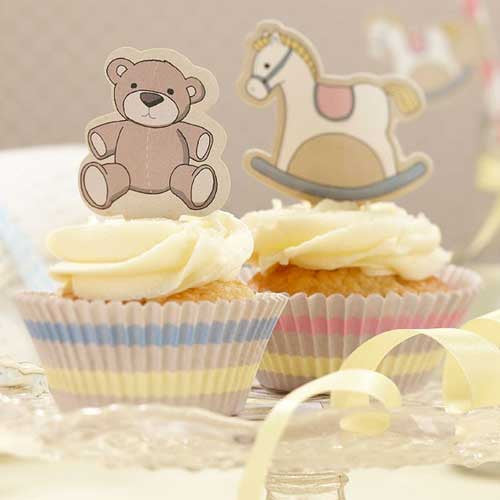 Rock-a-bye Baby Pastel Cupcake Decoration Kit with 50 Cupcake Wrappers Liners & 20 Toppers
