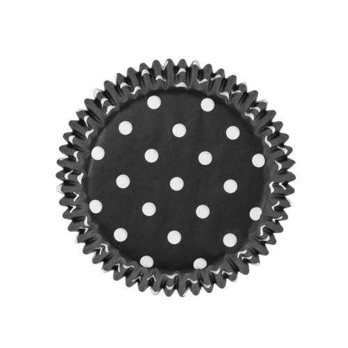 Set of 20 Greaseproof Polka Dots Black/White Cupcake Wrappers Liners