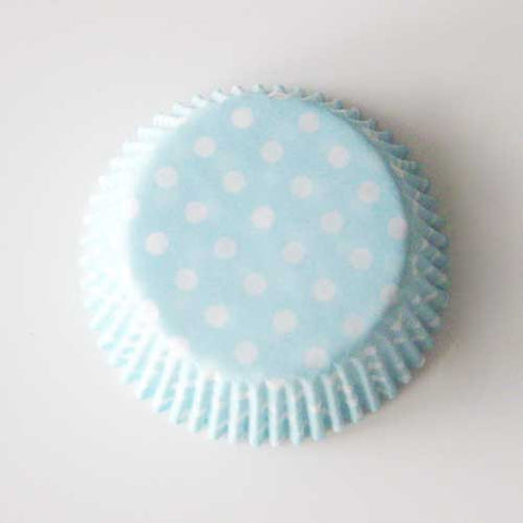 Set of 20 Greaseproof Polka Dots Light Blue/White Cupcake Wrappers Liners