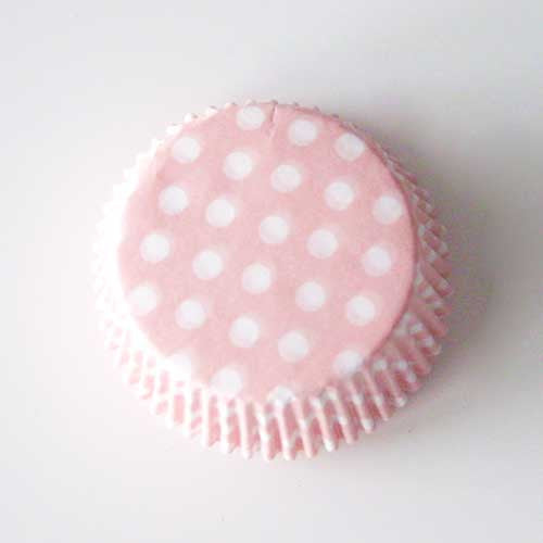 Set of 20 Greaseproof Polka Dots Light Pink/White Cupcake Wrappers Liners
