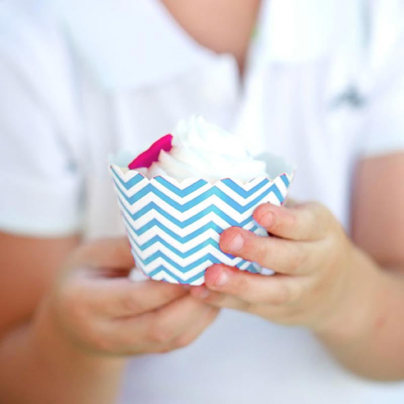 Pack of 12 Skinny Chevron Light Blue/White Cupcake Wrappers with Scallop Edge