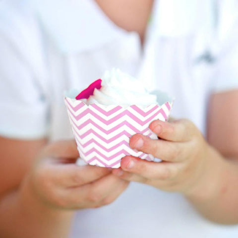 Pack of 12 Skinny Chevron Light Pink/White Cupcake Wrappers with Scallop Edge